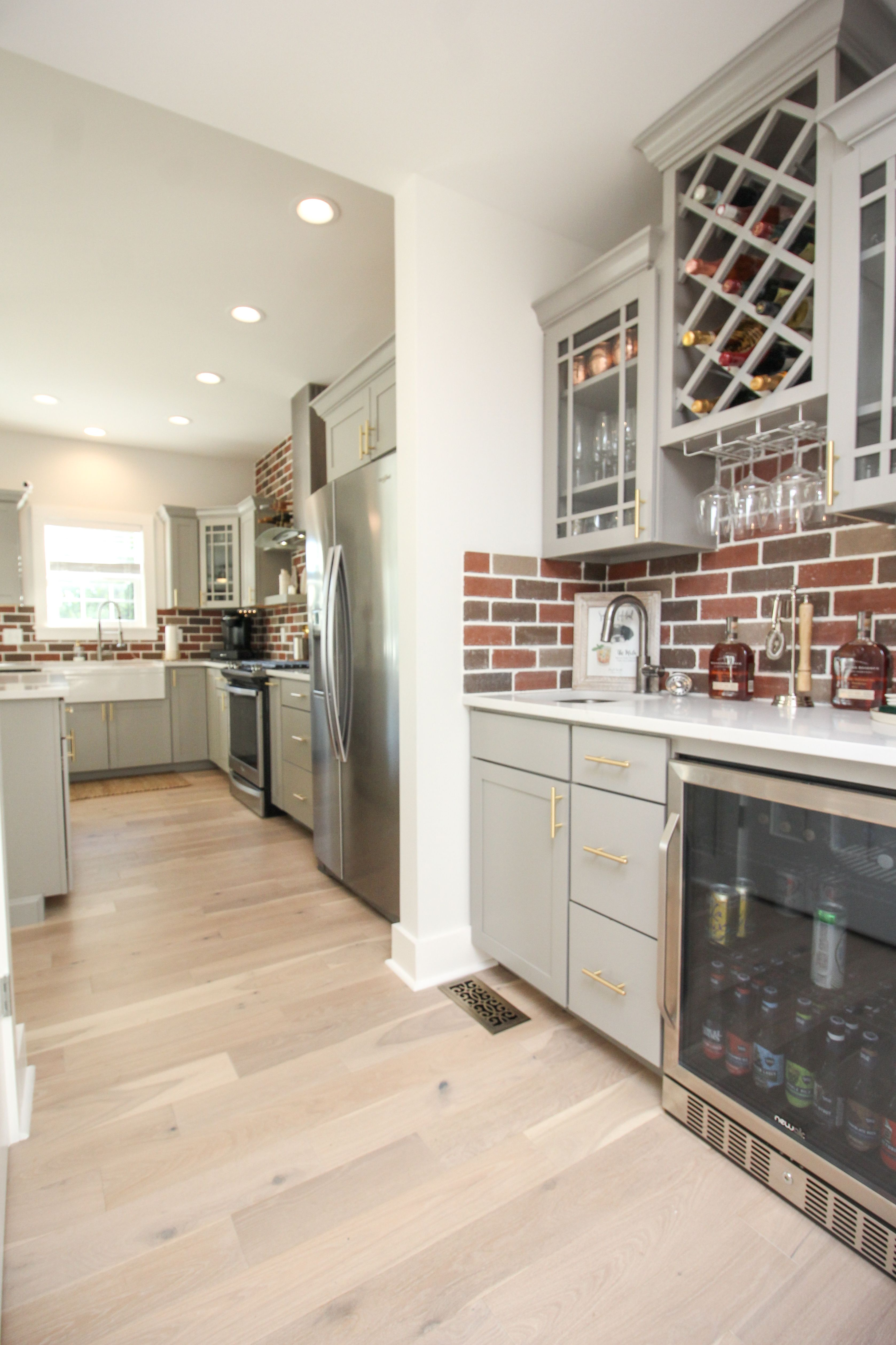 Butlers Pantry Stone Gray Cabinets With Gold Cabinet Pulls Wine