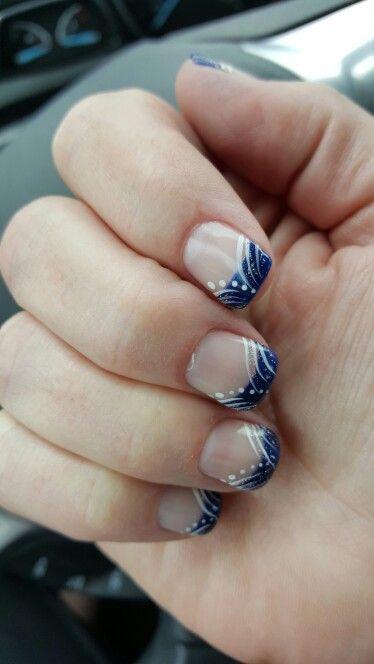 Blue White French Tip Nail Art Design Nail Art In 2019 Nails