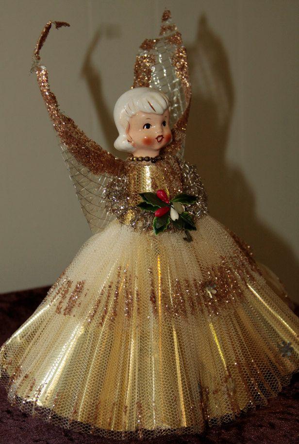 Vintage Gold Angel Tree Topper Vintage Christmas Vintage Christmas Ornaments Vintage Christmas Tree