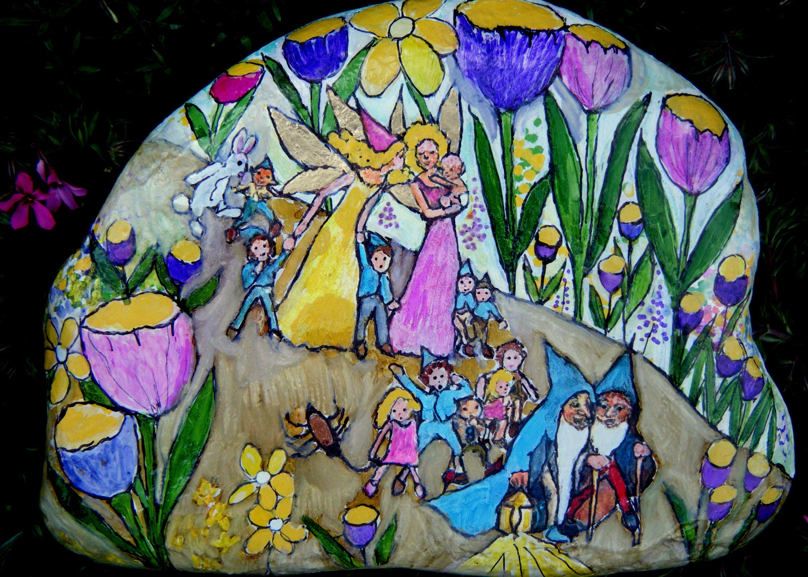 Handpainted fairy garden rock by maggie lee fairies pinterest