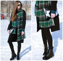 Yulia Sidorenko - Claudia Sträter Coat, New Look Sweater, New Yorker Jeans, H&M Boots, Oasap Clutch, Oasap Scarf, H&M Necklace, Oasap Sunglasses - Plaid and lace up boots