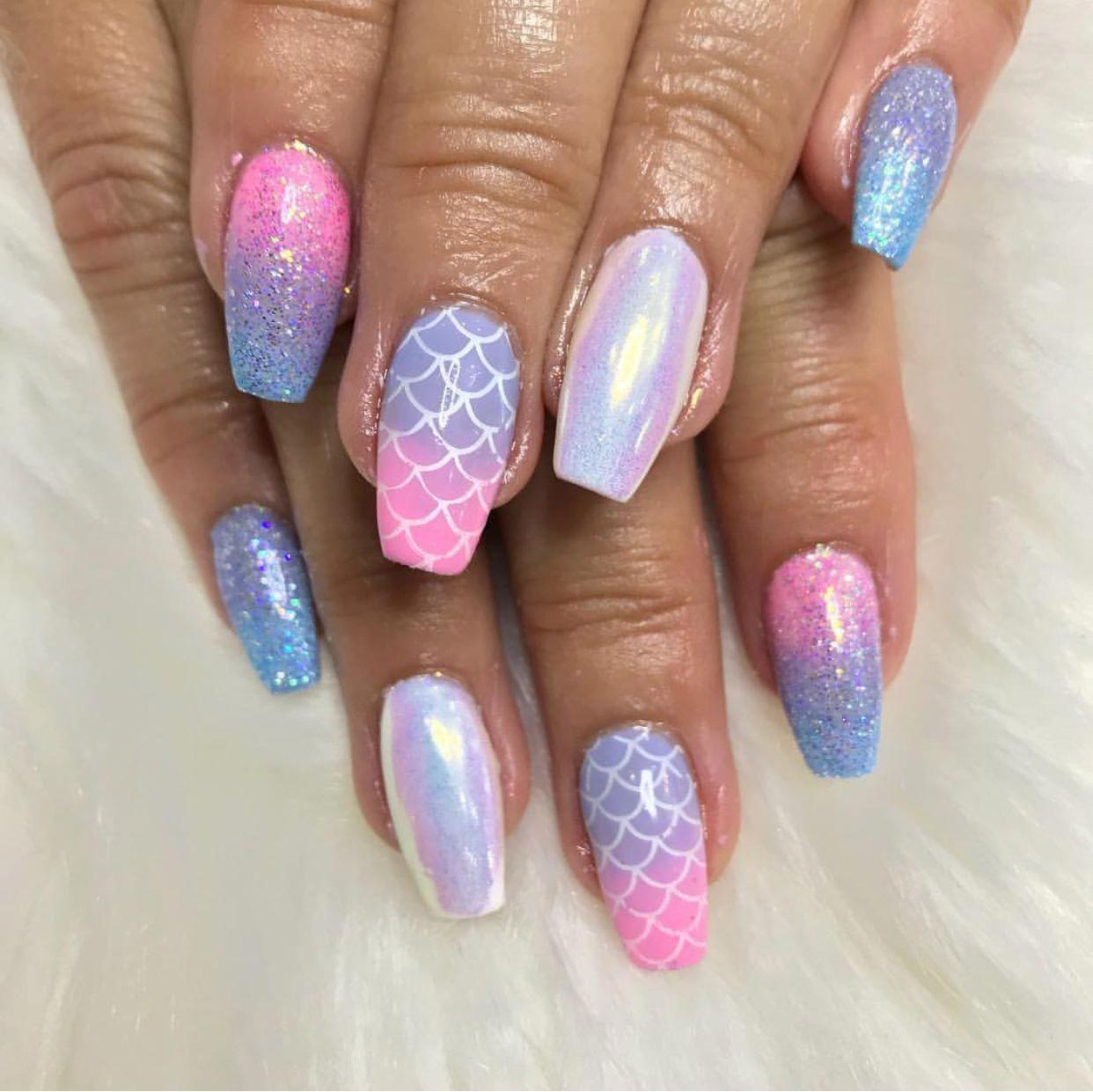 Purple And Blue Mermaid Nails Purple Nail Designs Mermaid Nails Nail Designs