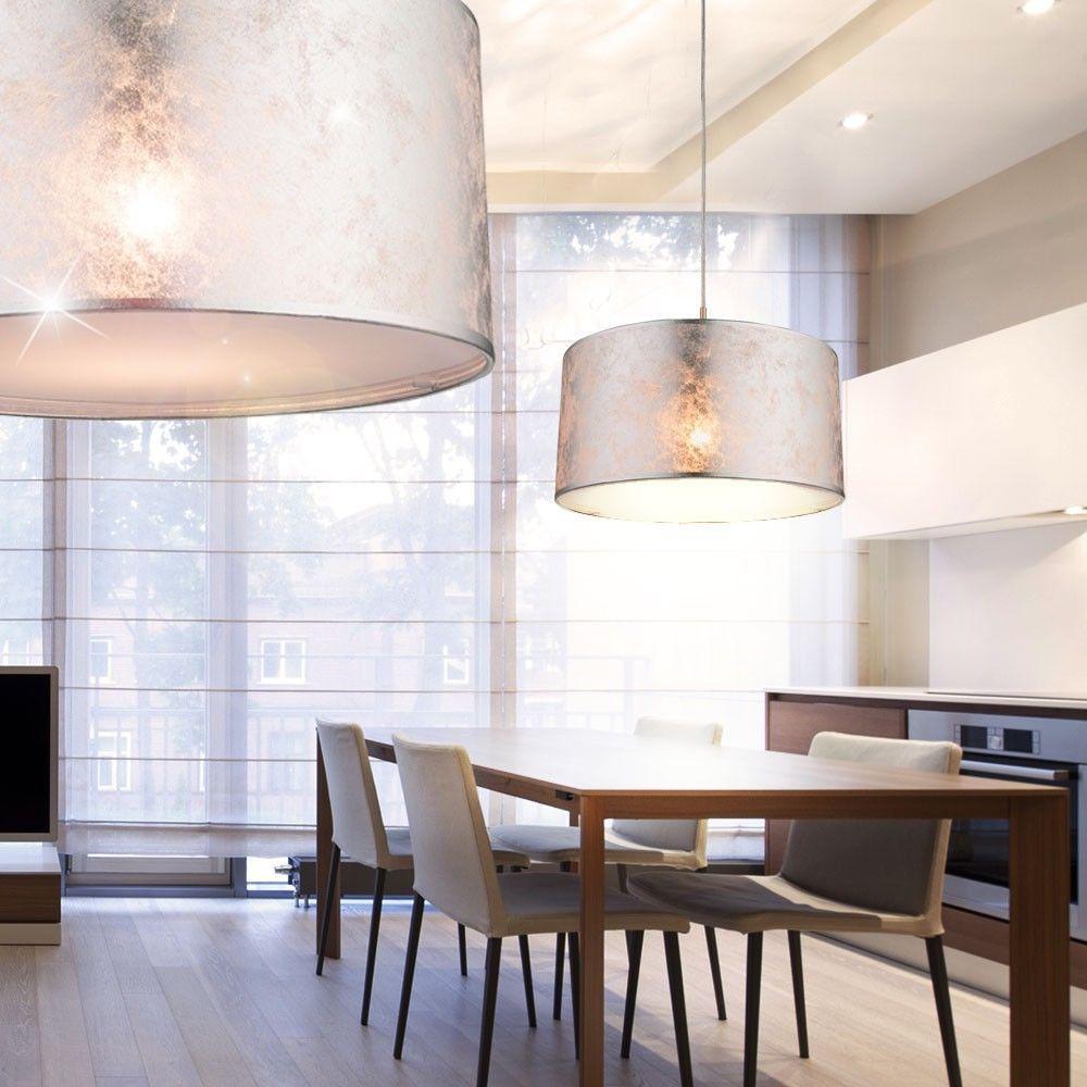 Details Zu Design Led Decken Pendel Hange Lampe Leuchte Textil Beleuchtung Silber Kuche Lampen Esszimmer Hangeleuchte Wohnzimmer Hangelampe Wohnzimmer