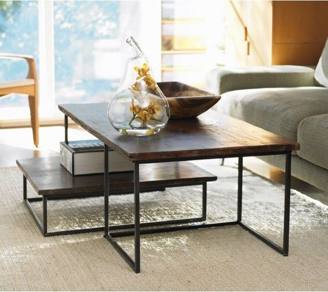 VivaTerra Railroad Tie Coffee Table Duo modern coffee tables