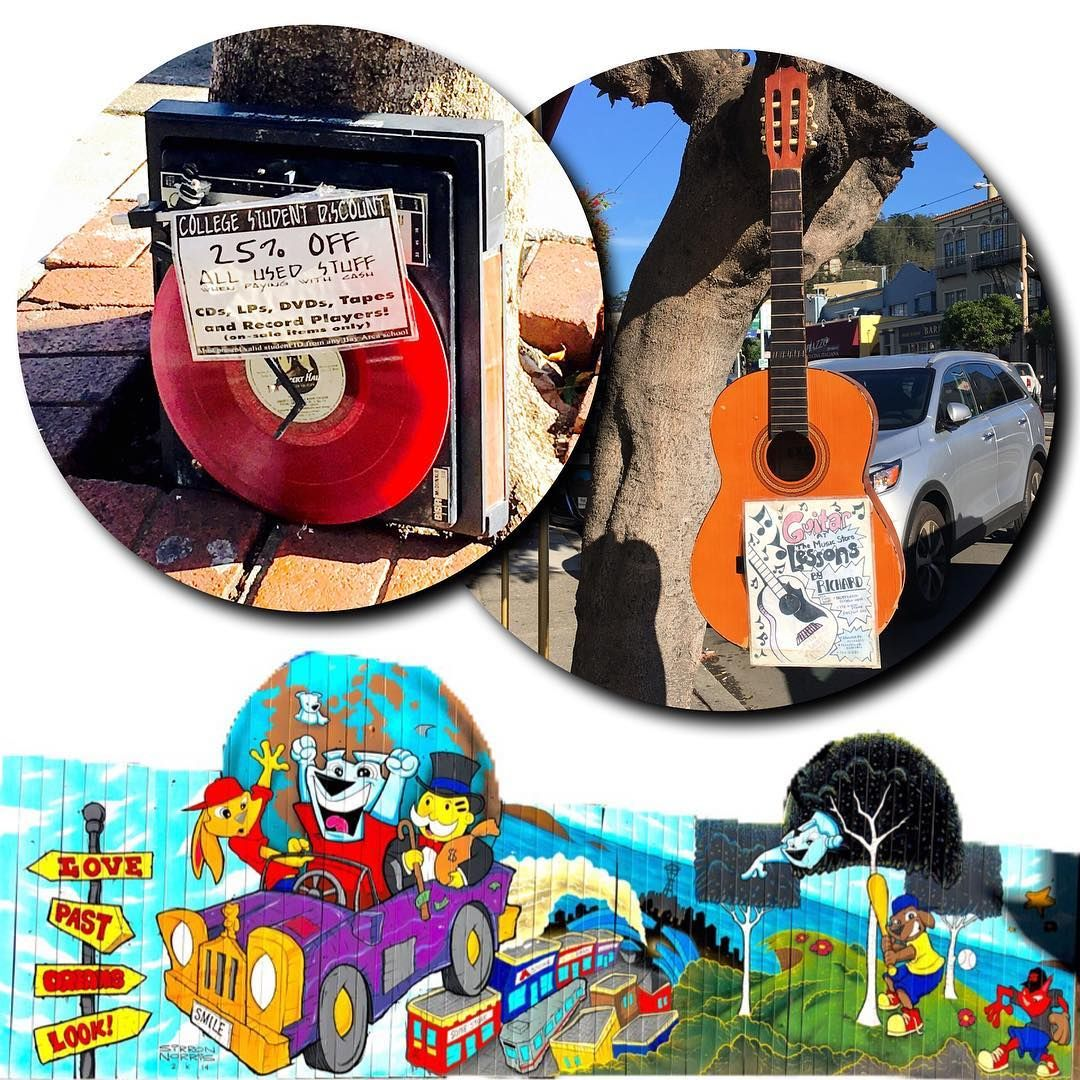 A quirky mural and creative advertising... ah, West Portal, I love thee so! . #Mural #Guitar #Turntable #Music #Creative #Advertising #WestPortal #SF #SanFrancisco #Realtor #RealEstate #ColdwellBanker