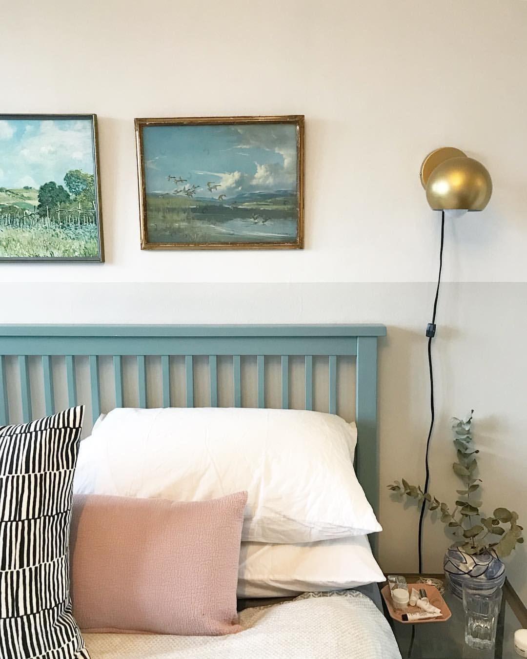 Wevet and Ammonite walls, Oval Room Blue headboard, art