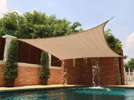 new square 12x12 sun shade sail cover canopy outdoor patio yard pool sand beige - 12x12 Canopy