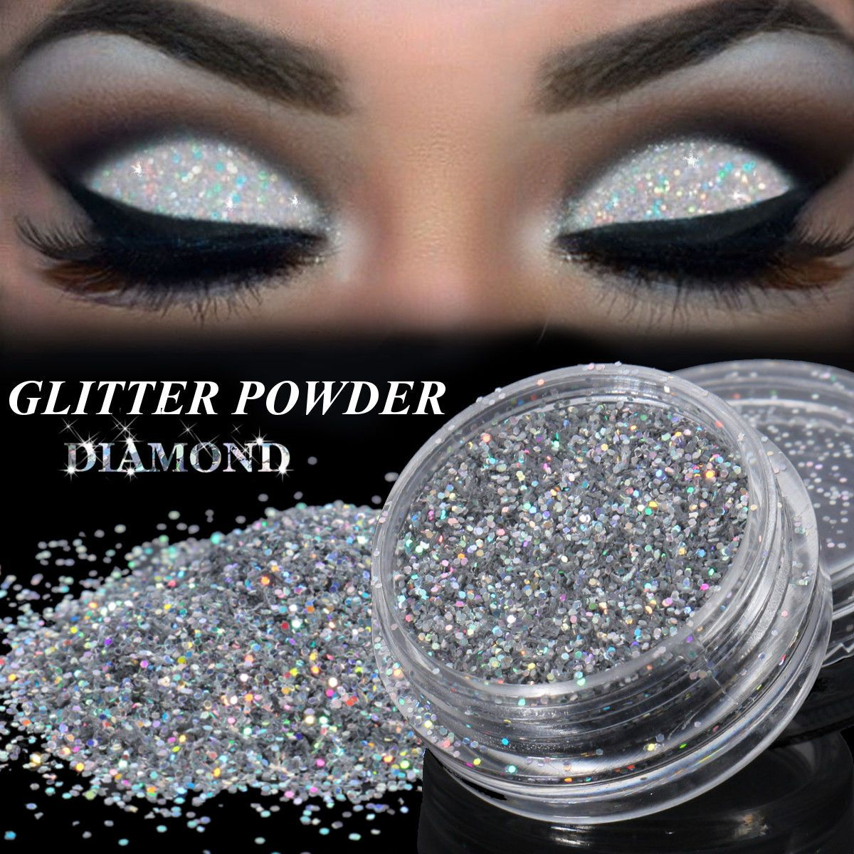 3g Glitter Eyes Holographic Silver Eye shadow Kit