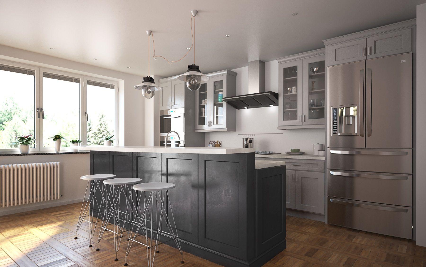 Society Shaker Steel Gray Semi Custom Pre Embled Kitchen Cabinets