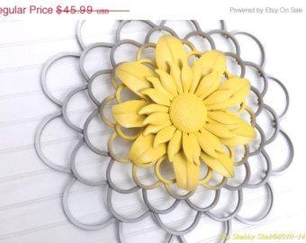 Spring sale flower wall art yellow gray white home decor handmade grey and yellow wall art mightylinksfo