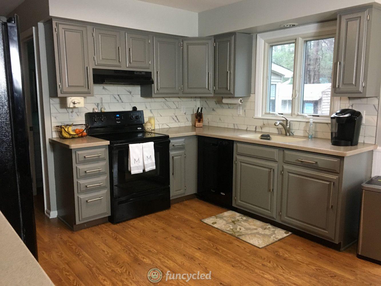 Oak Kitchen Cabinets Painted Chelsea Gray | Grey kitchen ...