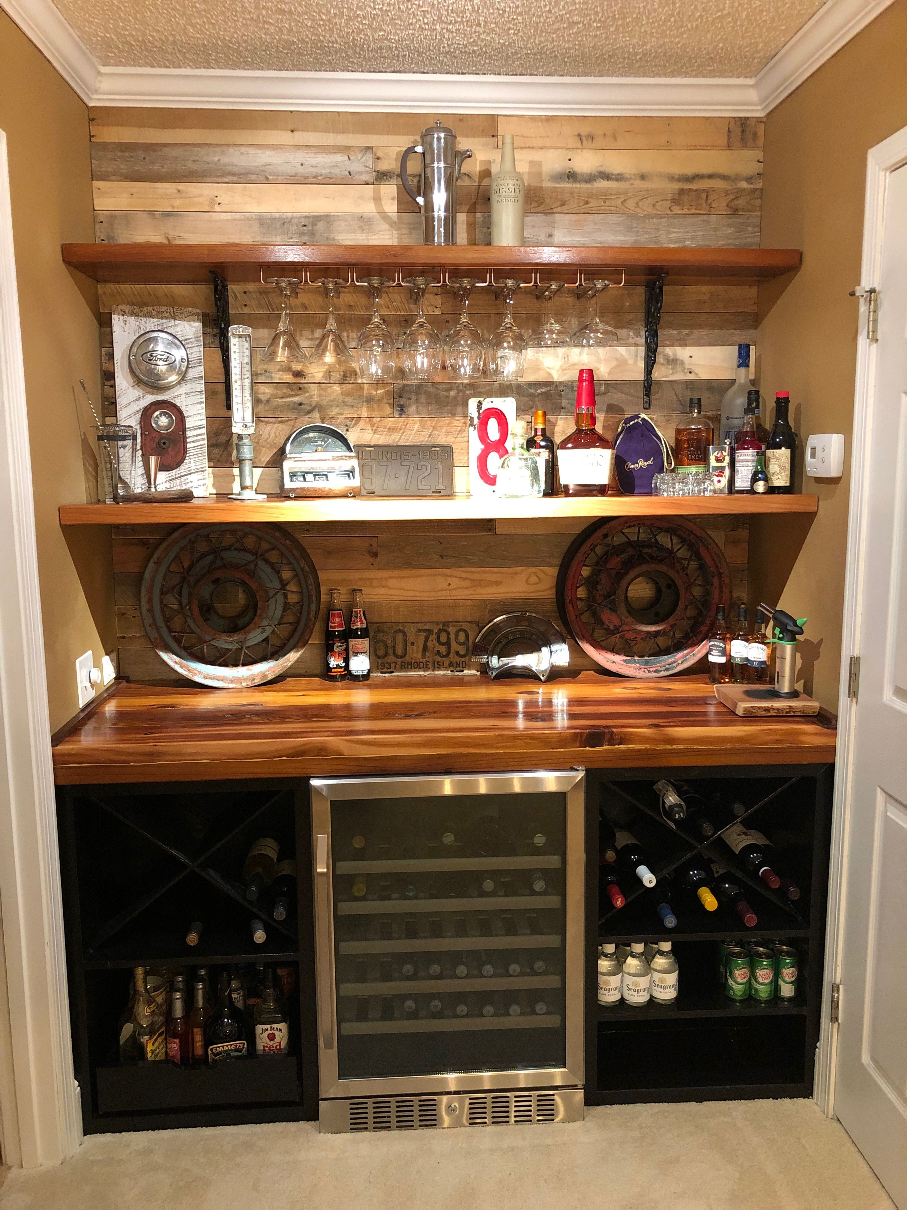 Home Bar Diy Vintage Car Themed Cedar Bar Top And Shelves With 1935 Kelsey Hayes Spoke Rims Supporting Floating Diy Home Bar Bar Shelves Small Bars For Home