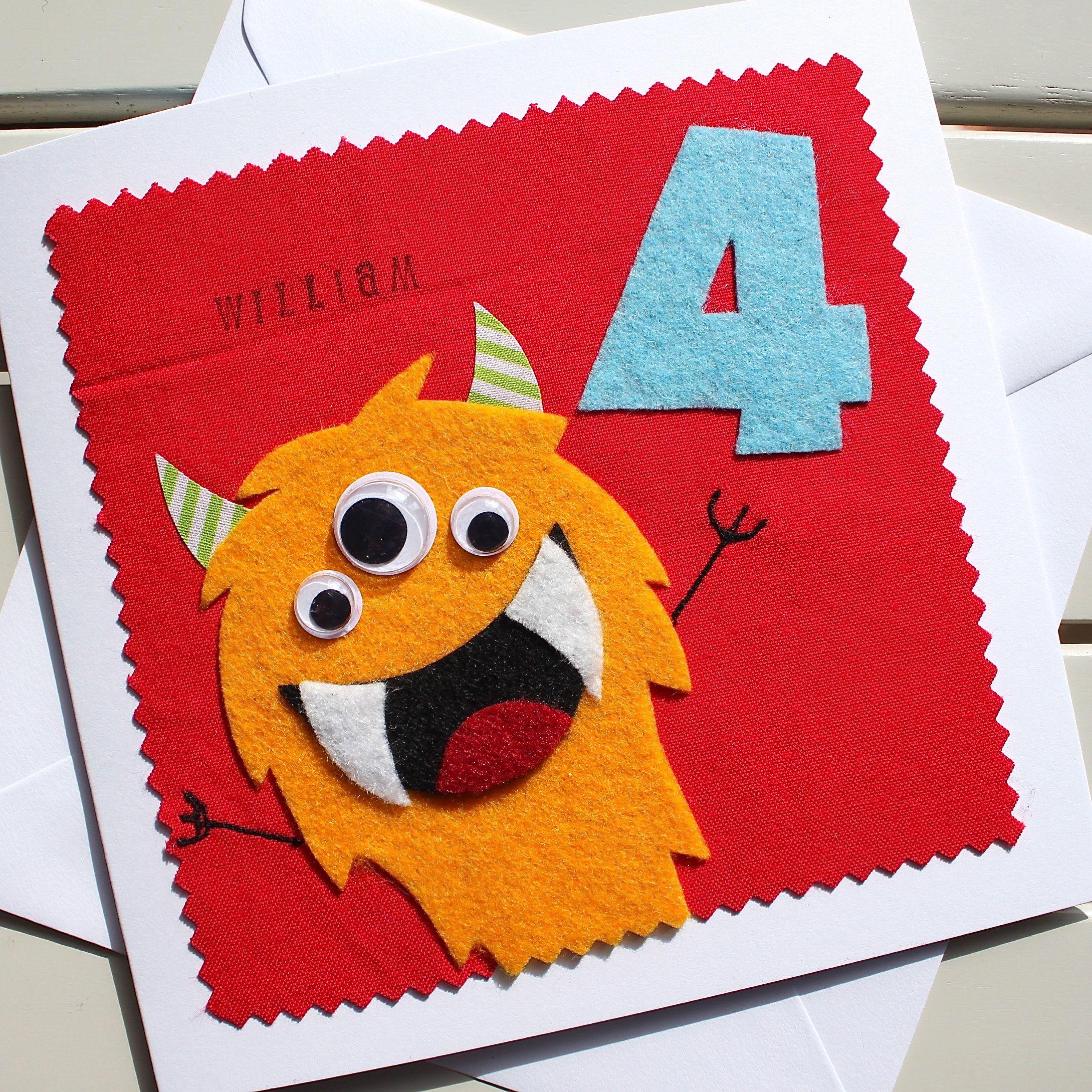 Monster Personalised Children S Birthday Card Handmade Felt And Fabric Card Boys Birthday Card Sons Birthday Card Grandsons Card Handmade Birthday Cards Birthday Cards For Boys Fabric Cards