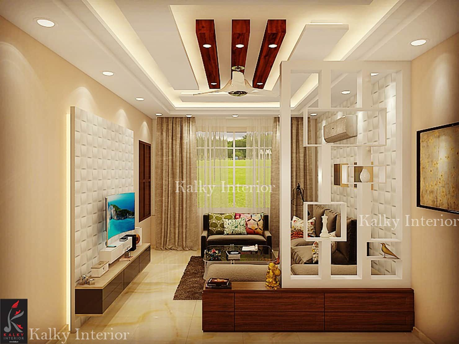 Drawing room with wooden partition modern living room by ...