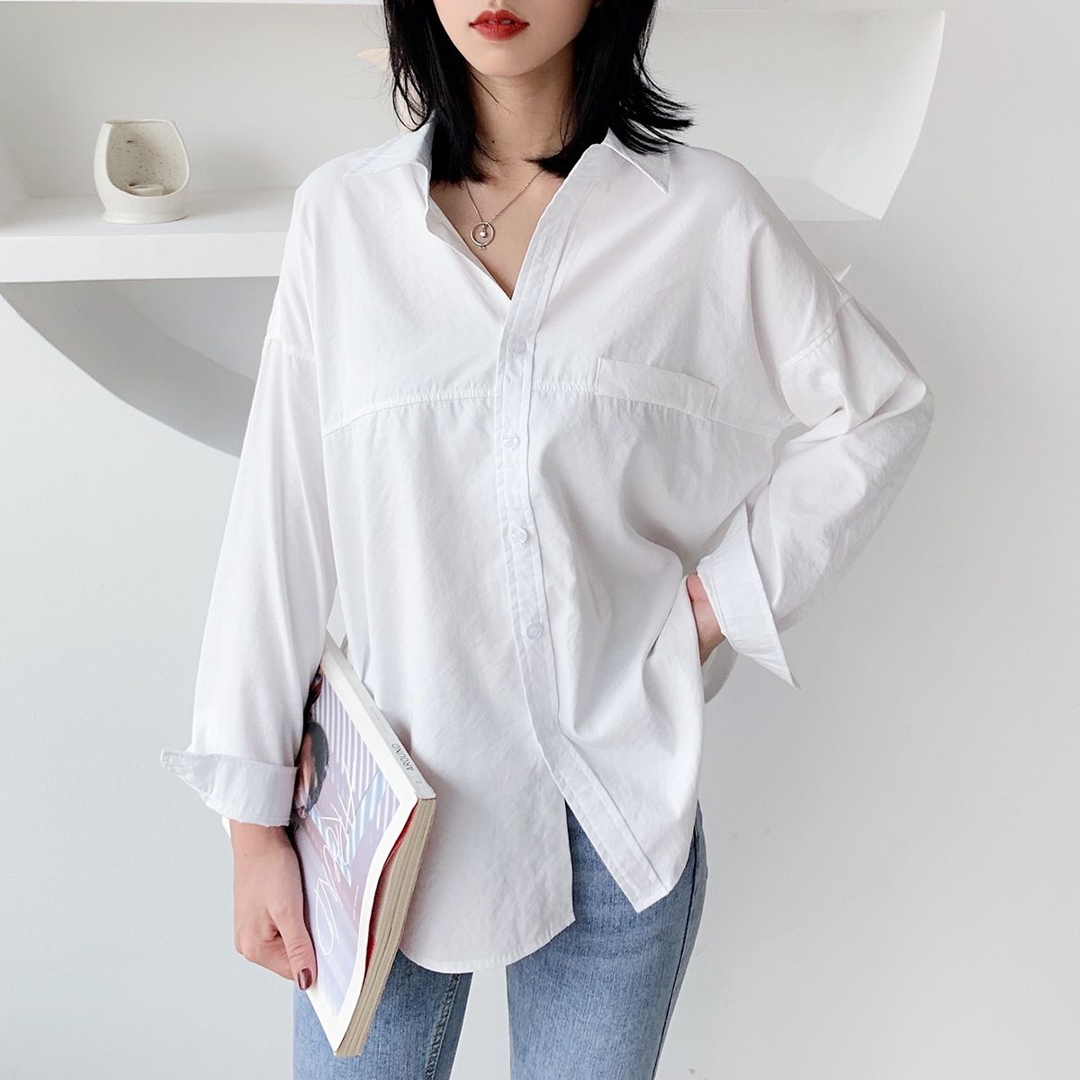 #2020 #blouses #woman #new #solid #color #fashion #shirts #temperament #full-sleeve #shirt #loose #women #tops #casual #wild #white #brief