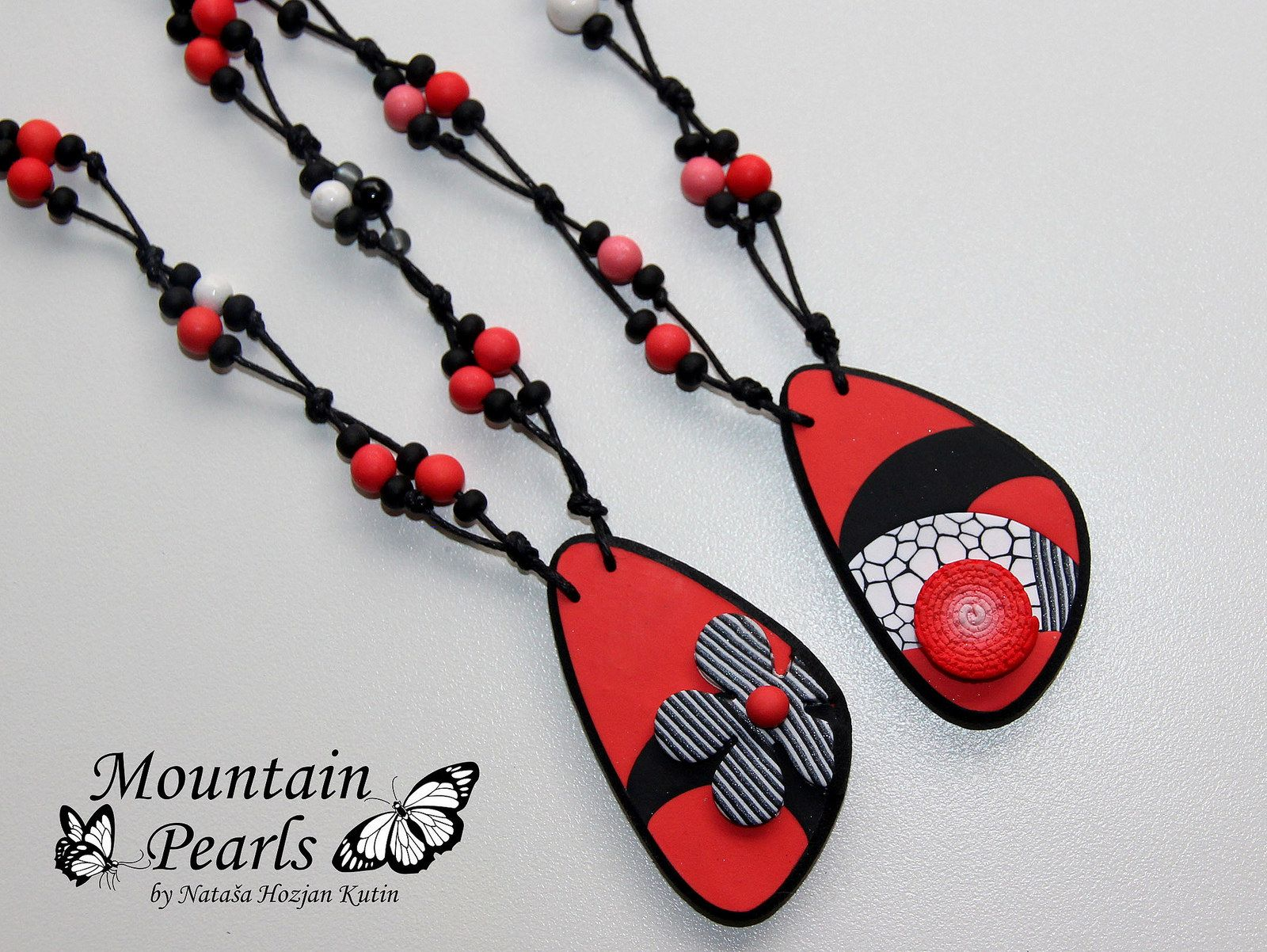 Polymer clay necklace, Mountain pearls by Nataša Hozjan Kutin | by mountain.pearls