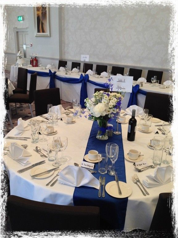 Royal Blue Table Runners And Top Table Swag At Parc Thistle Hotel, Cardiff