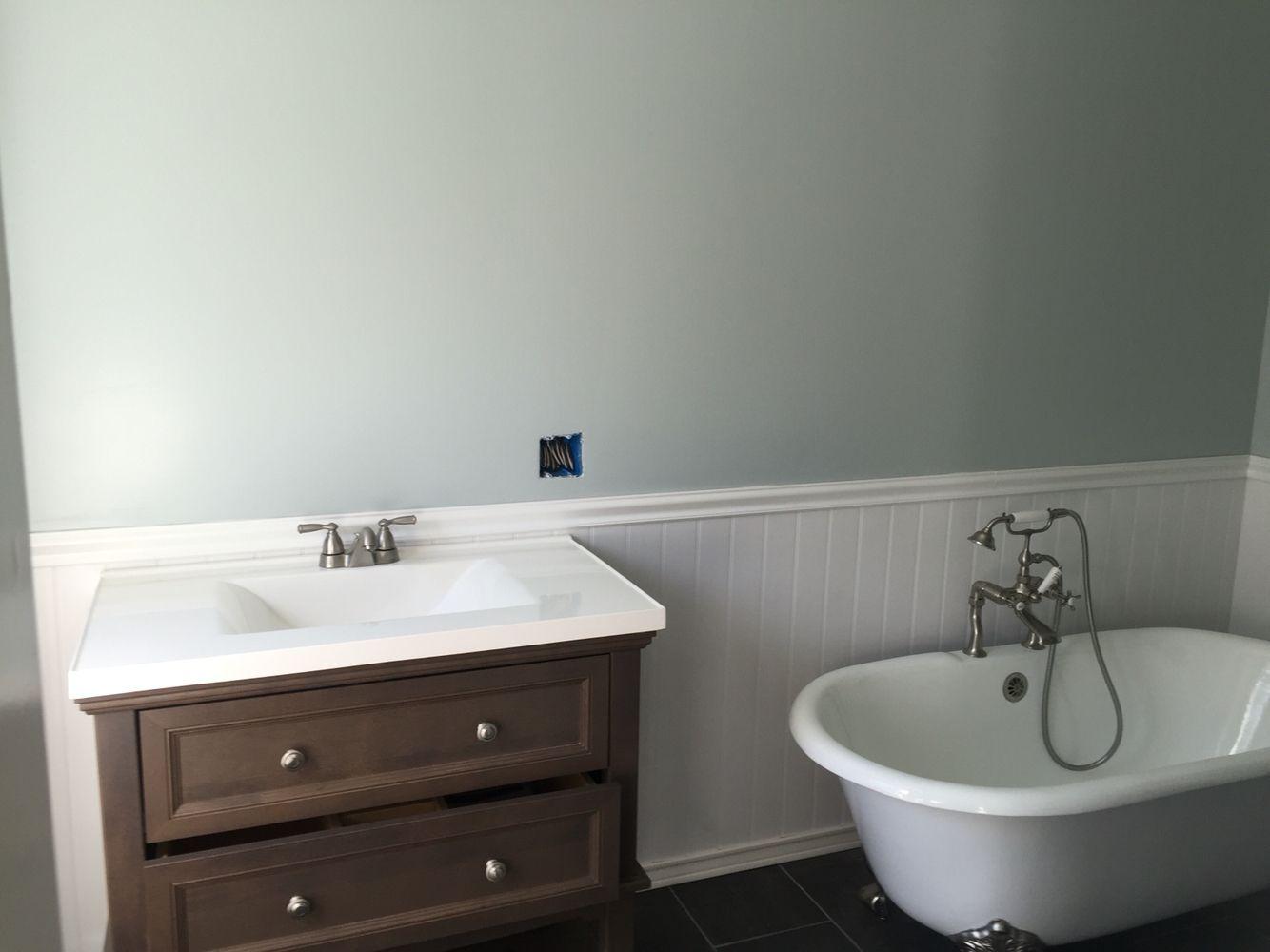 Behr color barely jade farmhouse bathroom reno