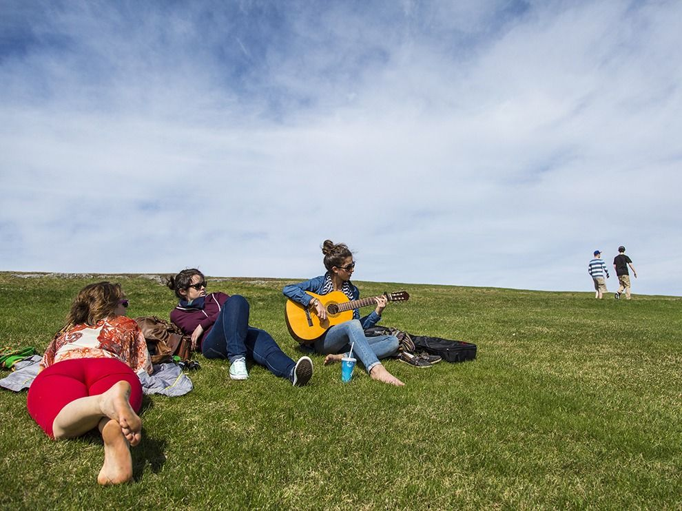 Relaxing On The Plains Of Abraham In Quebec City Warm Weather Is