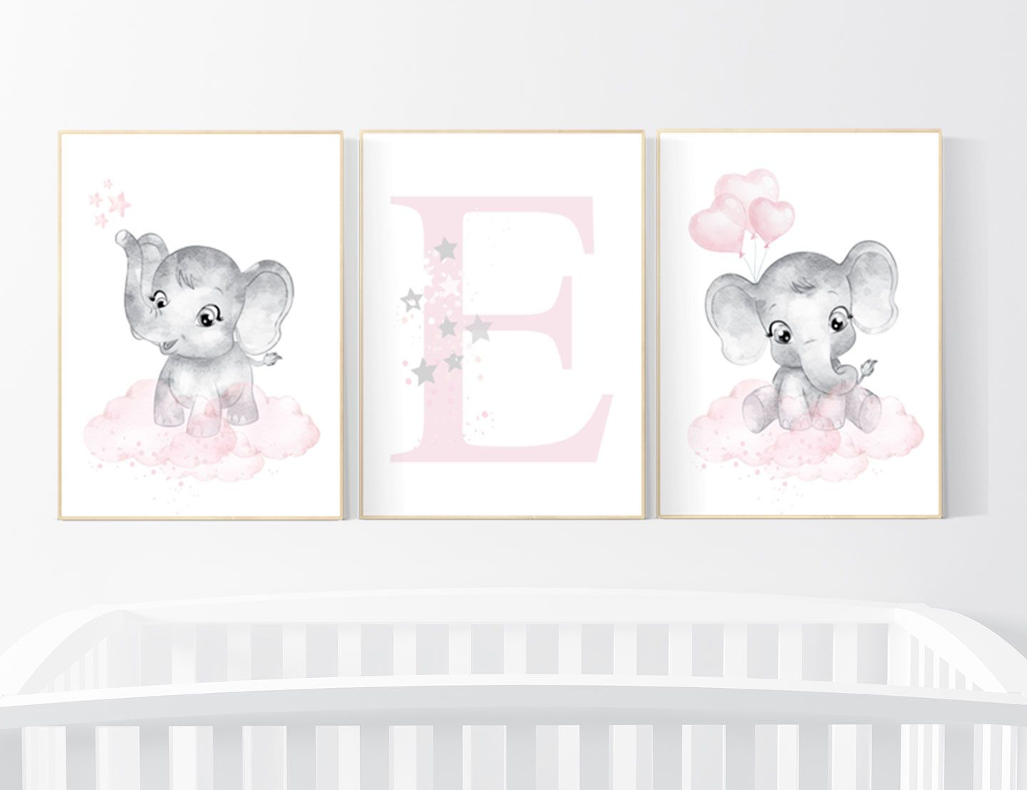 Nursery decor girl Elephant nursery nursery wall art  Etsy