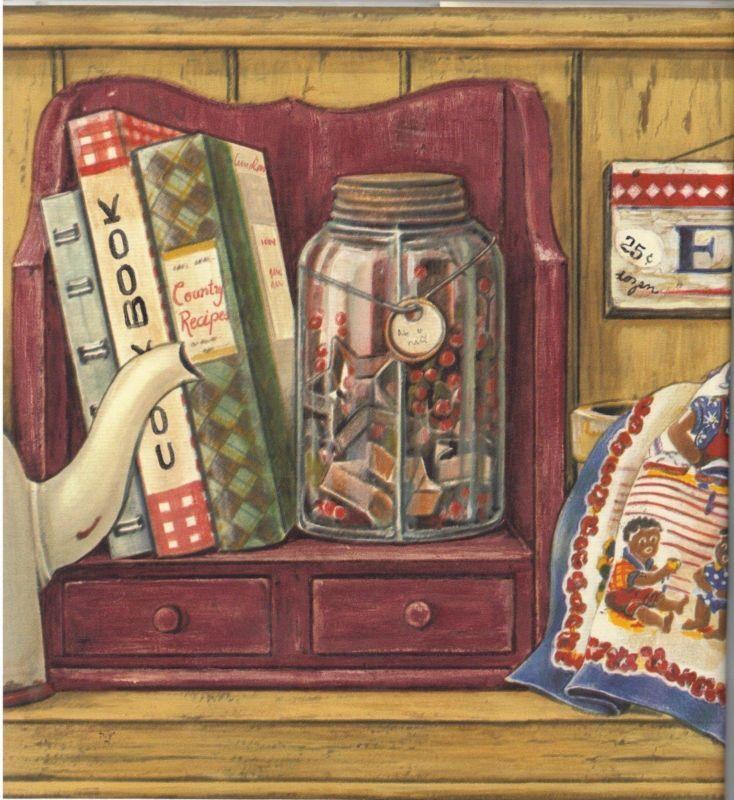 Aunt Jemima Black Americana Kitchen Towel Book Crock Egg Wallpaper Border Gold Wallpaper Border Americana Kitchen Kitchen Towels