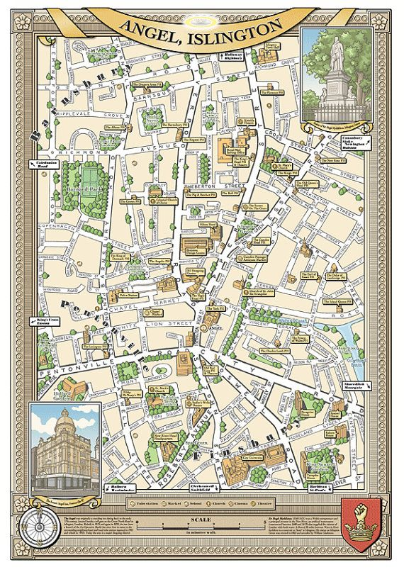 Map Of North London.Angel London N1 Illustrated Map Giclee Print In 2019 Globes