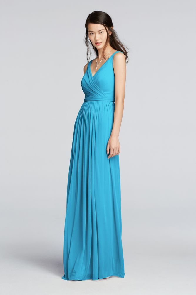 18 Bridesmaid Dresses Under 100 By Lulu S: Long Sleeveless V-Neck Mesh Bridesmaid Dress With Belt