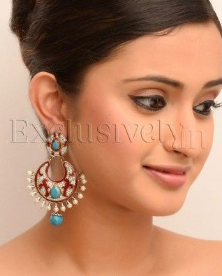 #Exclusivelyin, #IndianEthnicWear, #IndianWear, #Fashion, Crescent Moon Red Enamel Earrings