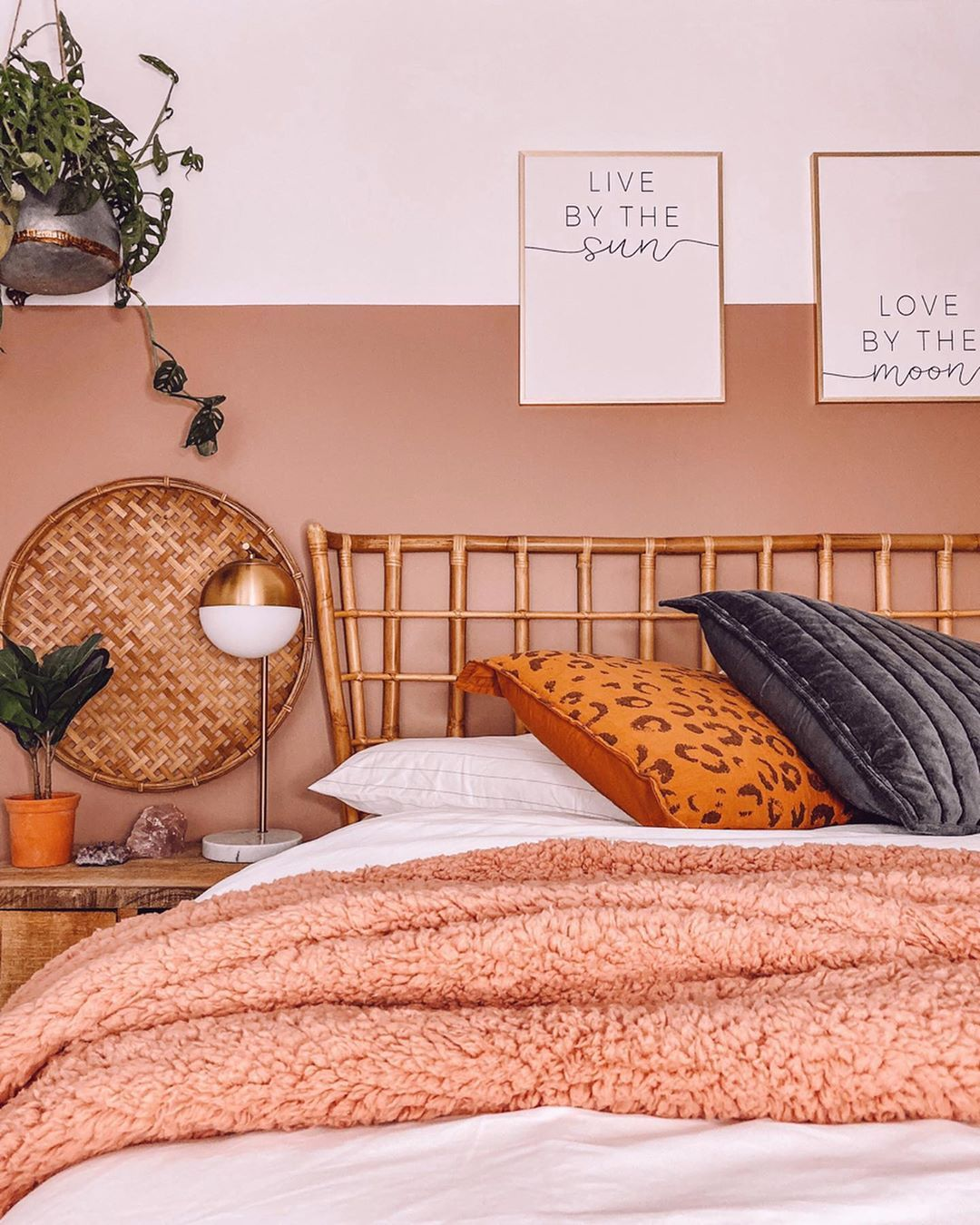 Bold Wall Paint Farrow And Ball Sulking Room Pink Dusty Rose Bedding Boho Style Bedroom Guest Room Bed Dusty Pink Bedroom Dusty Rose Bedding
