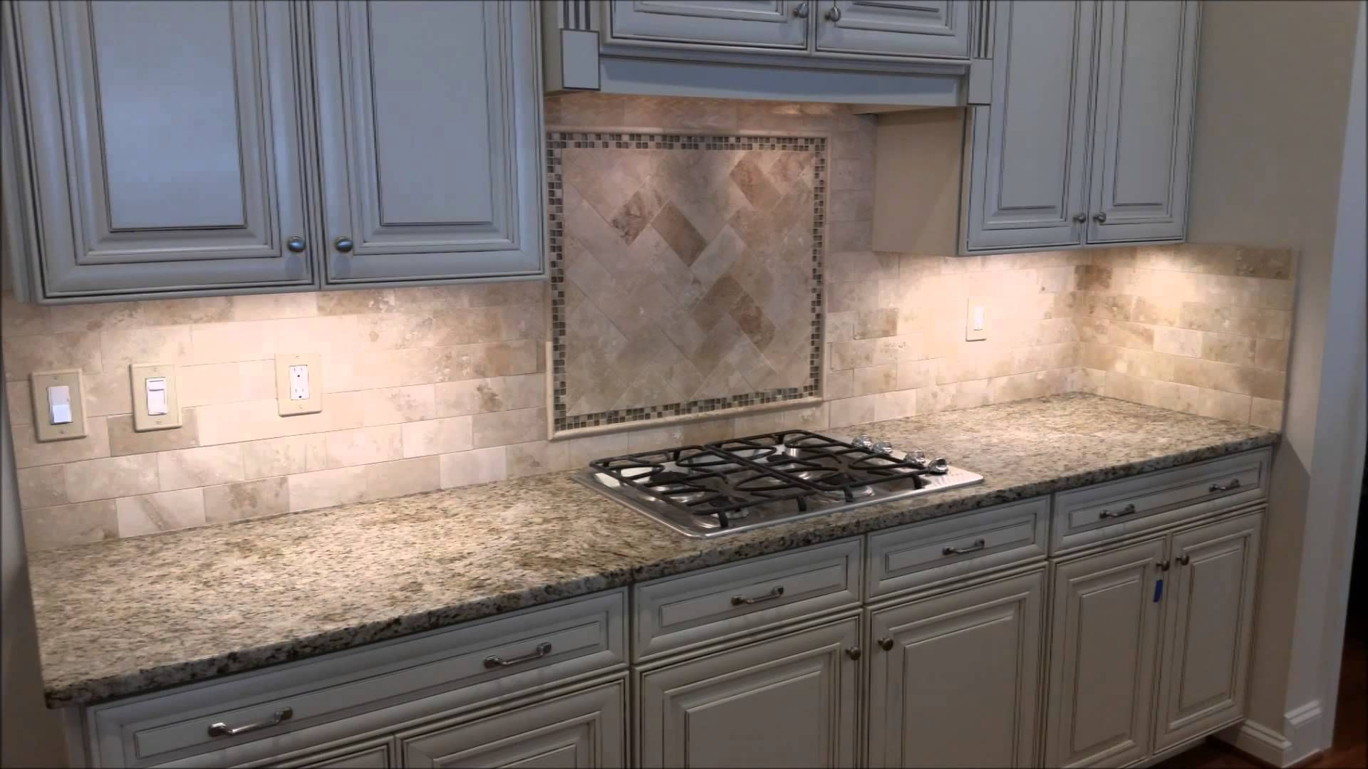 - Travertine Backsplash With Herringbone Inlay - YouTube