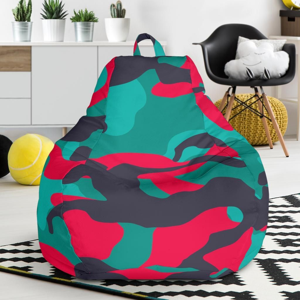 Pink Teal And Black Camouflage Print Bean Bag Chair Bean Bag Chair Chair Cover Print