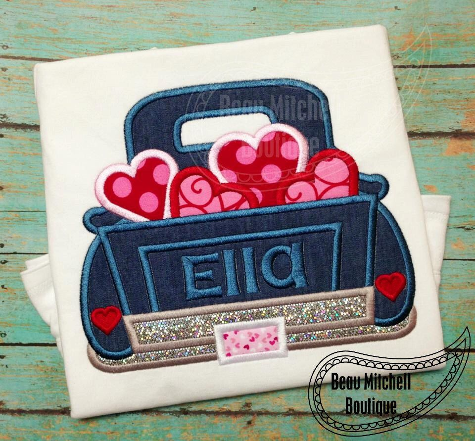 Valentines Truck Applique Embroidery Design by BeauMitchellBoutique on Etsy https://www.etsy.com/listing/170068935/valentines-truck-applique-embroidery