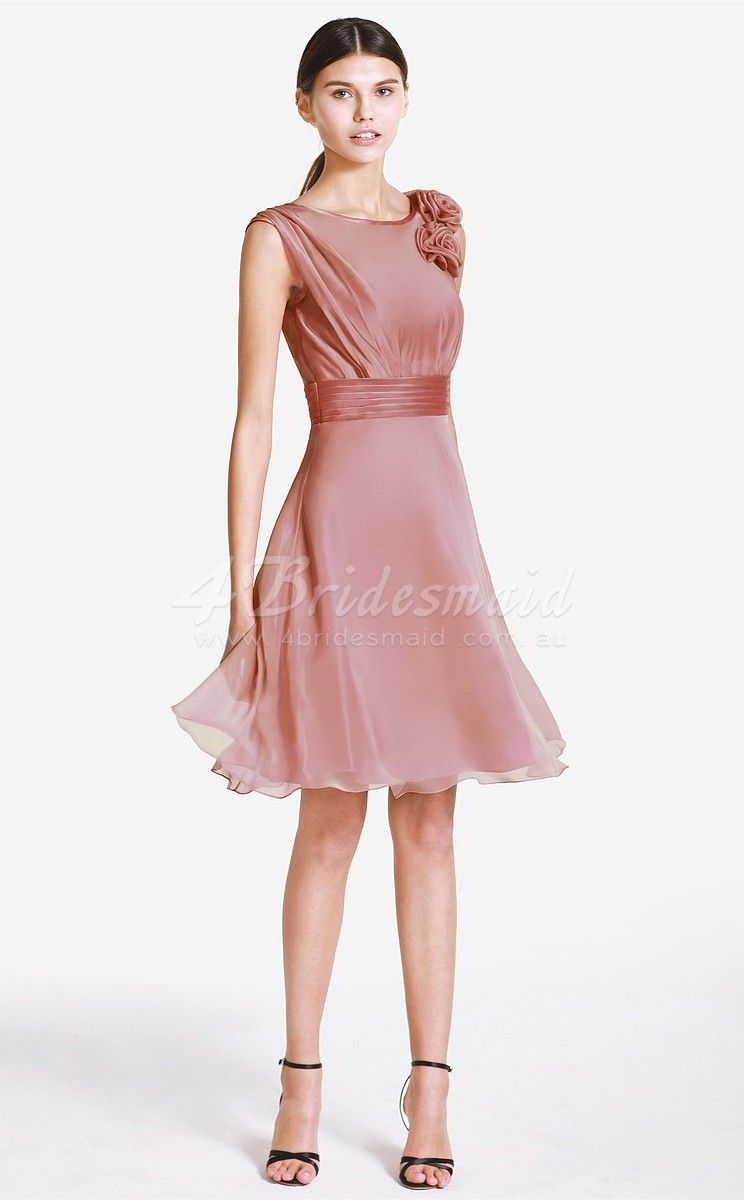 Princess Jewel Neck Velvet Chiffon Short/Mini Nude Pink Bridesmaid ...