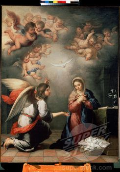 Virgin Mary with Archangel Gabriel by Bartolome Esteban Murillo, Oil on canvas, 1660s, 1617-1682, Russia, St. Petersburg, State Hermitage