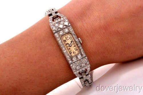 Antique 6 28ct Diamond Art Deco Platinum Ladies Bracelet Watch 34 9 Grams | eBay