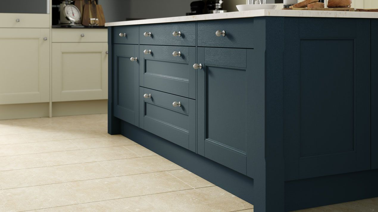 Manor House Painted Oxford Blue M Sheraton Kitchens Omega Blue Shaker Kitchen Kitchen High Quality Kitchen