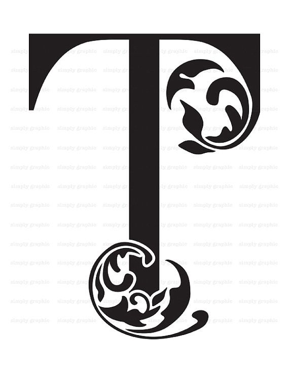 Large Initial Letter T Wall Decor Letter by SimplyGraphicStore ...