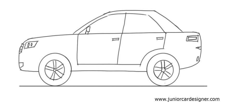 Car Drawing Tutorial: 4 Door Car Side View | Drawing tutorial, Car ...