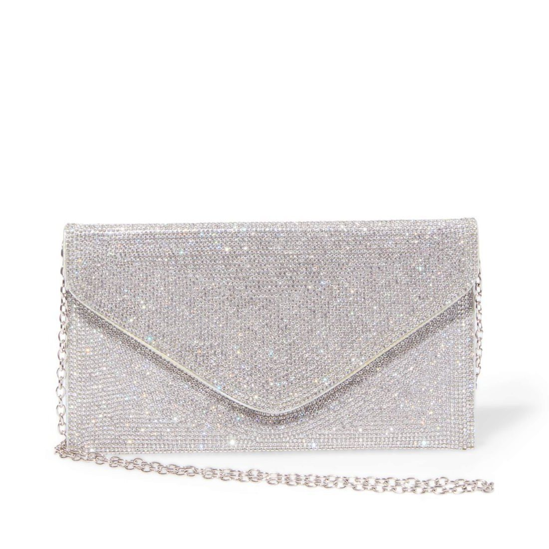 Tiny rhinestones blanket BSWAGGER's face, transforming this otherwise simple envelope bag into a sparkling statement style. Rock this flashy new favorite as a crossbody, or tuck its delicate chain strap inside and carry as a clutch. Clutch 5