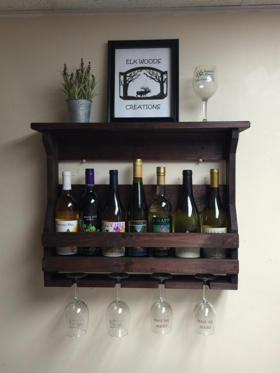 Wandweinregal Wooden Wine Rack Wall Mounted Wine Rack Handmade Rustic Home
