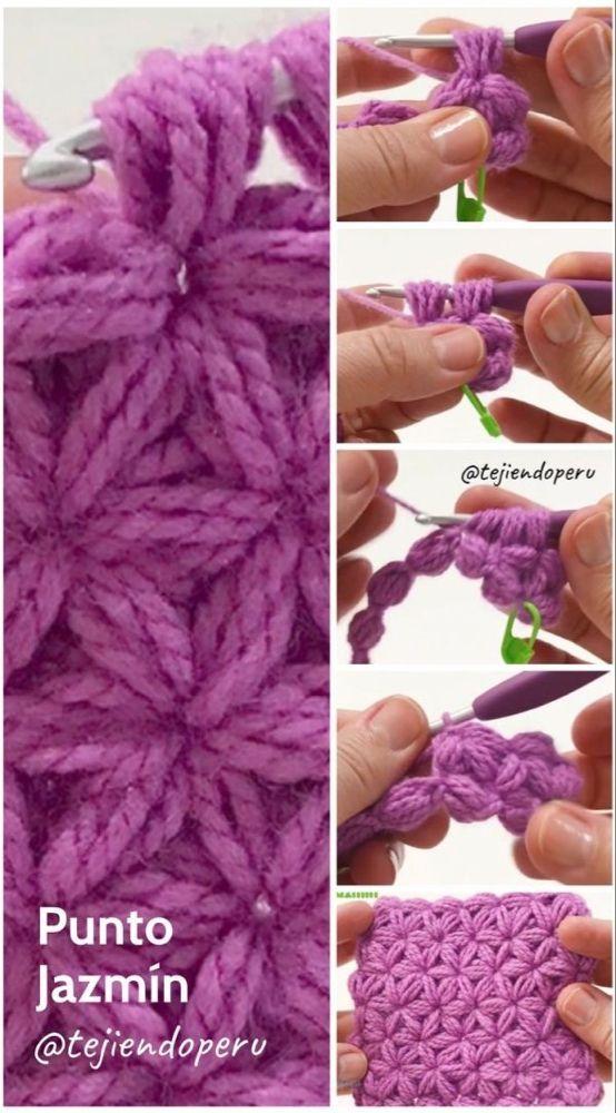 Punto Jazmín Tejido A Crochet Paso A Paso En Vídeo Tutorial Alaskacrochet Com Crochet Crochet Jasmine Stitches Crochet Patterns