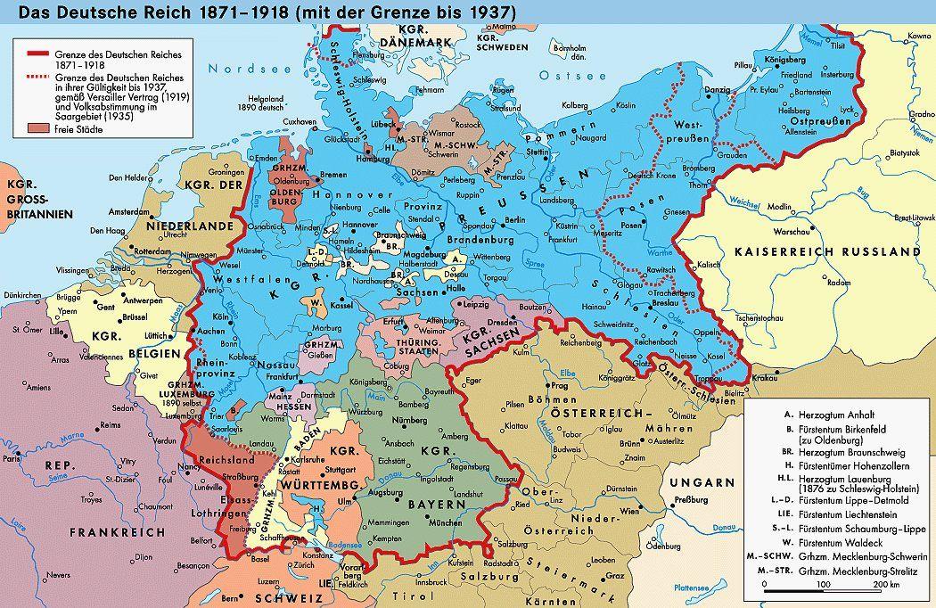 Karte Deutsches Reich 1937
