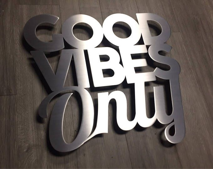 Good Vibes Only Metal Wall Art Word