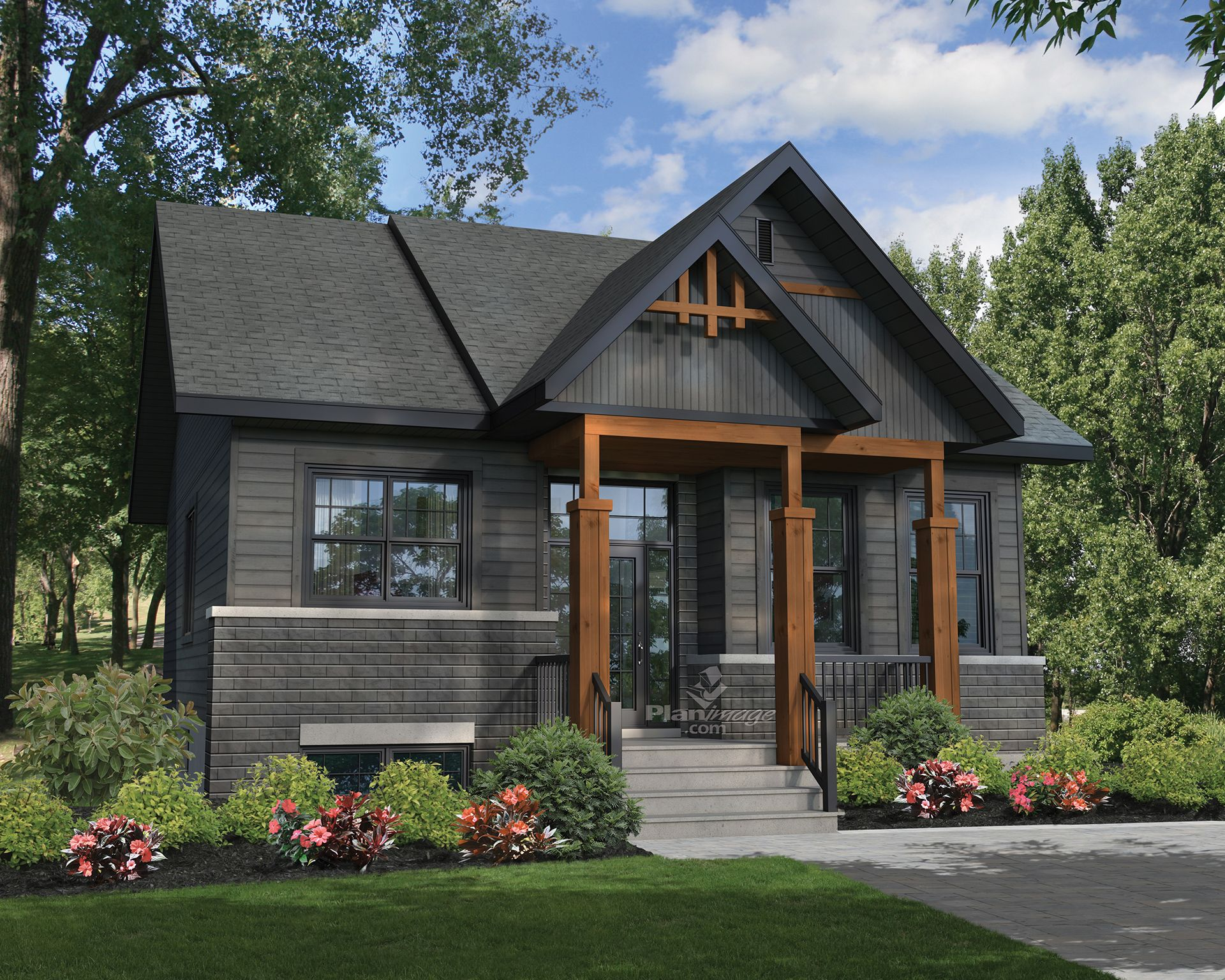 With Its Gabled Roof Its Small Covered Balcony And Stone And Wood Siding This Aspen Style Maison Plain Pied Revetement Exterieur Maison Revetements De Maison