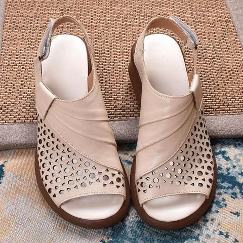 Babakud Summer Retro Leather Wedge Women's Shoes #shoewedges