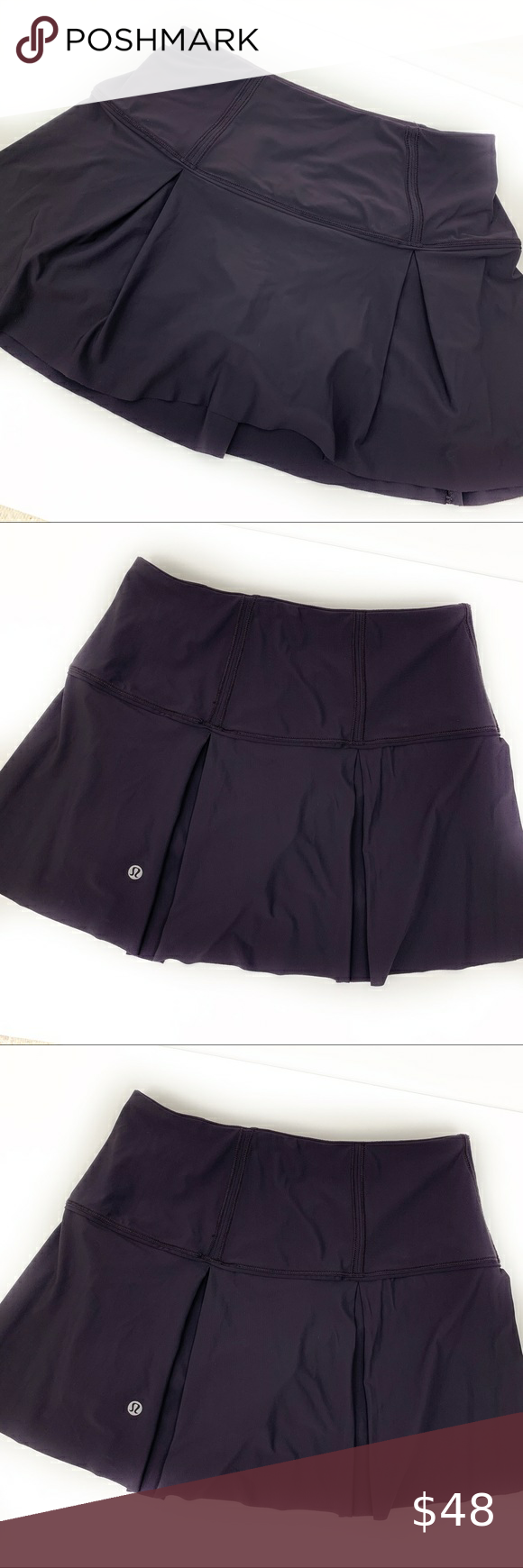 """Lululemon Lost In Pace Navy Skirt Skort Lululemon Lost In Pace Navy Skirt Skort Size: 4 Gently used, great condition.  Measurements are approximate and taken flat.  Waist: 12 1/2"""" Inseam: 3""""  #0023 lululemon athletica Shorts Skorts"""