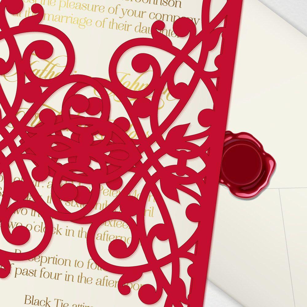Laser cut wedding invitation, digital printable 5x7\