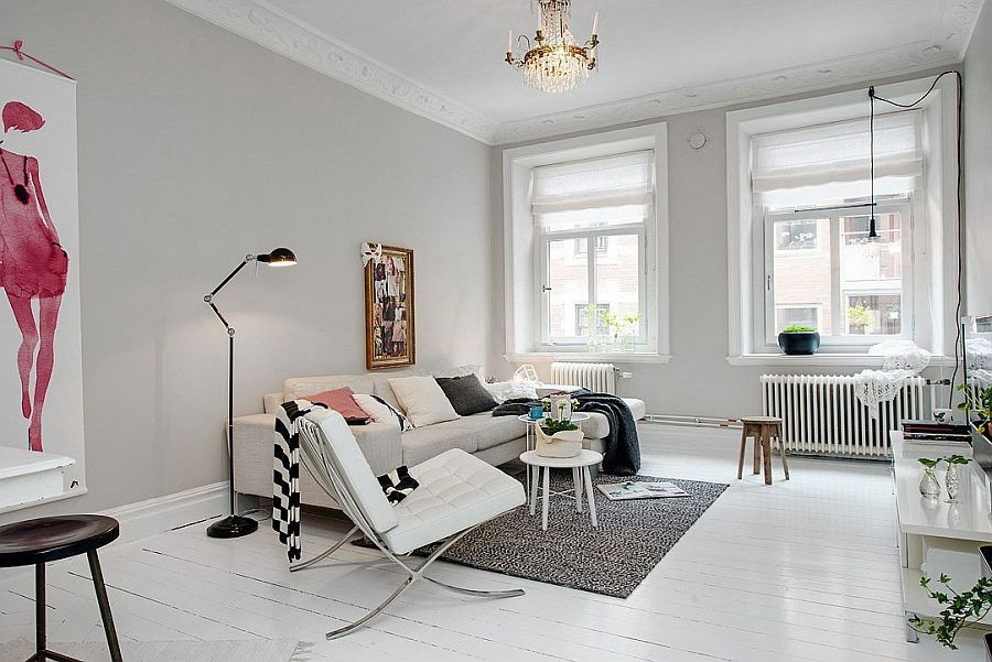 Superb Scandinavian Living Room Furniture · Decor In White Complements The Color  Scheme Of The Apartment Embracing Scandinavian Simplicity: Cozy Chic