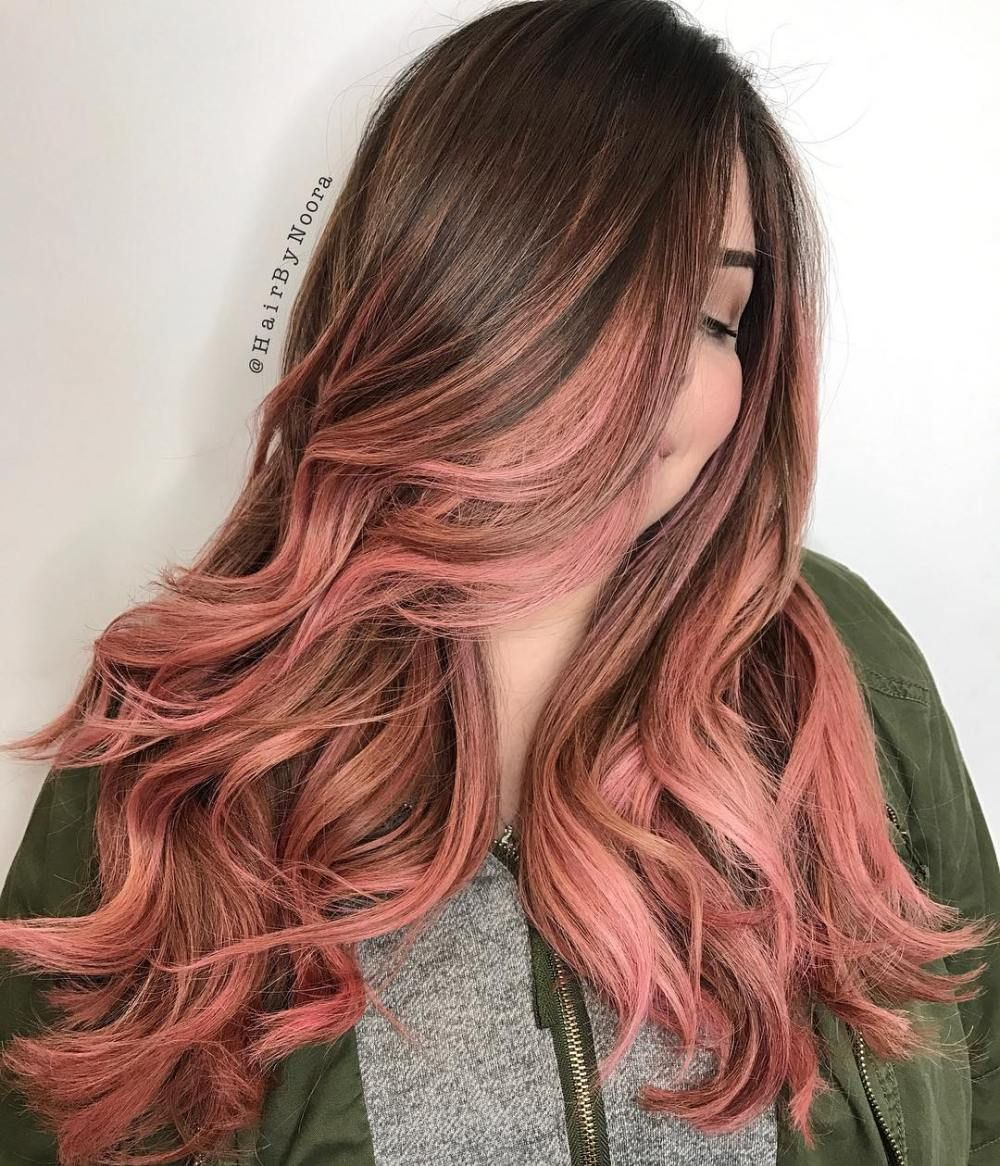 40 Ideas Of Pink Highlights For Major Inspiration Peach Hair Hair Color Pink Brown And Pink Hair