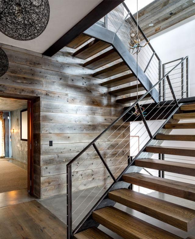 rustikales design treppen holz metall luxus materialien | treppe ... - Modern Und Rustikal Mit Treppenhaus